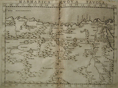 c.1561 Genuine OLD Antique map of  north eastern Africa. Ruscelli