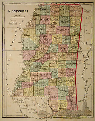 1856 Genuine Antique map of Mississippi. by C. Morse