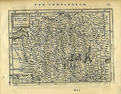 1651 Genuine Antique map western Italy, Lombardy, Milano. Mercator/Jansson