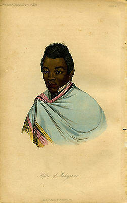 "1842 Genuine Antique Portrait ""Native of Madagascar"". Prichard Natural Hist. Man"