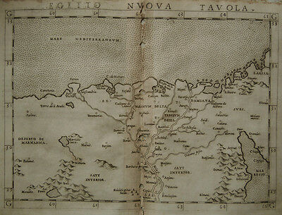 c.1561 Genuine OLD Antique map of  north eastern Africa, Nile. by Ruscelli