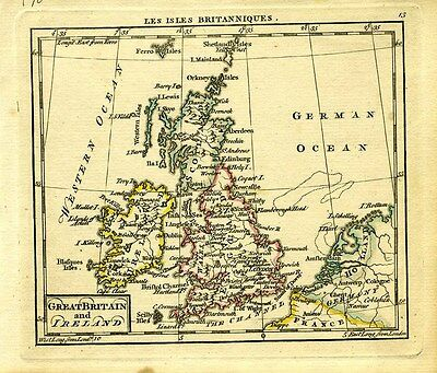 1761 Genuine Antique miniature hand colored map of British Isles. by A. Dury