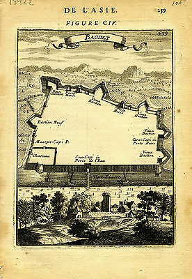 "1683 Genuine Antique map ""Bagdet"", Baghdad, Fauschbourg, Iraq. A M Mallet"