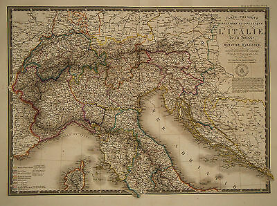 1826 Genuine Antique hand colored maps of Italy. Two Parts. A.H. Brue