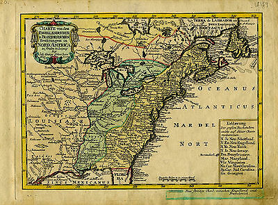 1749 Genuine Antique map of eastern United States. SCARCE. J Schreibern