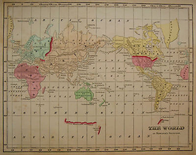 1856 Genuine Antique map Mercator's World. C. Morse