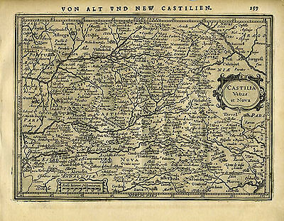 1651 Genuine Antique map central Spain, Madrid, Castilia. Mercator/Jansson