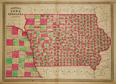 1864 Genuine Antique Hand Colored Map of Iowa & Nebraska. Johnson