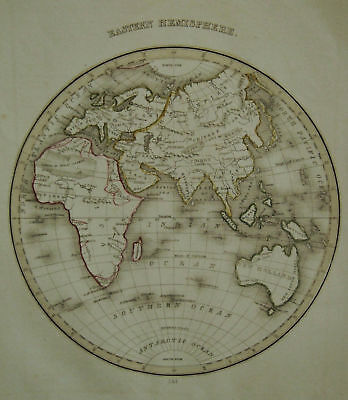 1835 Genuine Antique map of Eastern Hemisphere. Bradford