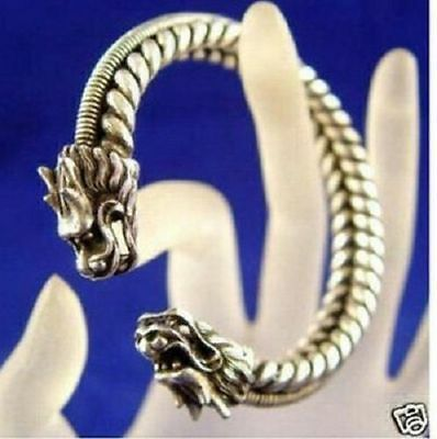 Handcrafted Rare Tibet silver hand carved dragon Head Men's bracelet