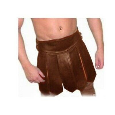 BROWN Mens REAL Pure LEATHER Gladiator Kilt GAY Clubwear LARP - (K1-BRW)