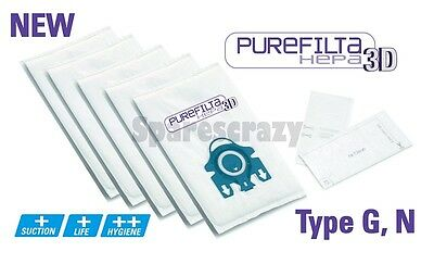 Purefilta HEPA 3D Pack Bolso Y Filtro (5) para Miele Tipo G N S5 S5000 to S5999