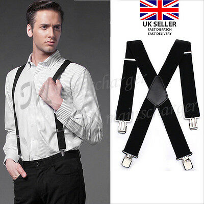 50mm WIDE MEN BRACES SUSPENDER ELASTIC Durable Trouser Heavy Duty BLACK