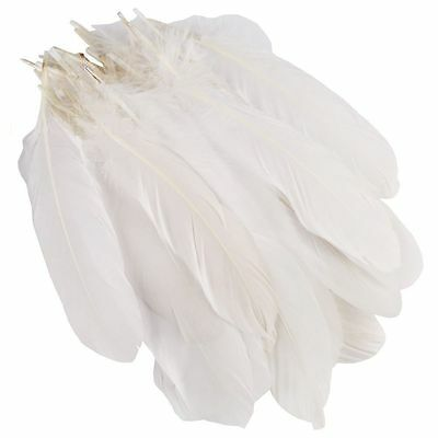 White Goose Feathers Ribbon Trim Sewing Trimming Costume Millinery Craft 100pcs