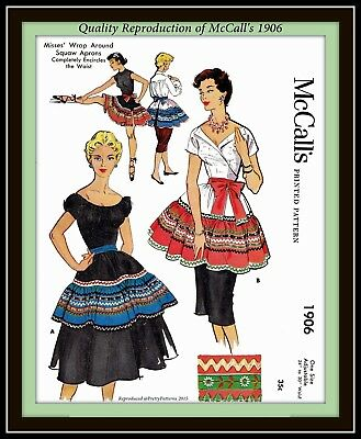 WRAP AROUND SQUAW APRON McCall'S 1906 CRAFT Misses Fabric Sewing Pattern VTG 50s
