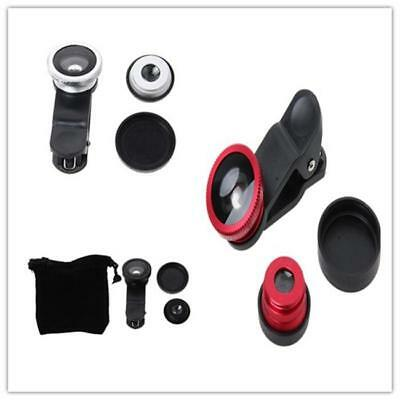 3 in 1 Phone Connect 180° Fisheye+Lens Wide+Angle Macro Lens For Mobile iPhone