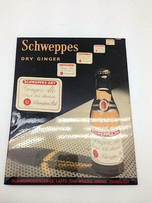 Schweppes Dry Ginger altes Blechschild / Imoglas 20x25 cm um 1930 Sign Signs