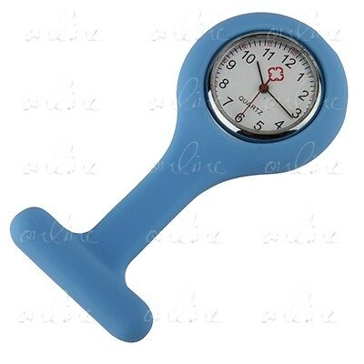 Cute Silicone Nurse Wear Watch Clear Numbers Round Dial Blue Tunic Fob Watch