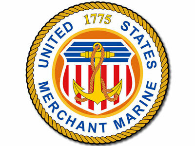 4x4 inch ROUND US Merchant Marine 1775 Seal Sticker -decal logo insignia vessel