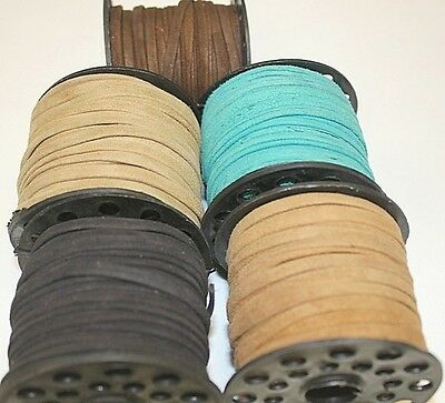 Real Suede * High Quality * Leather Folded & Pasted - 4mm x 1mm * 1 - 25 Yards
