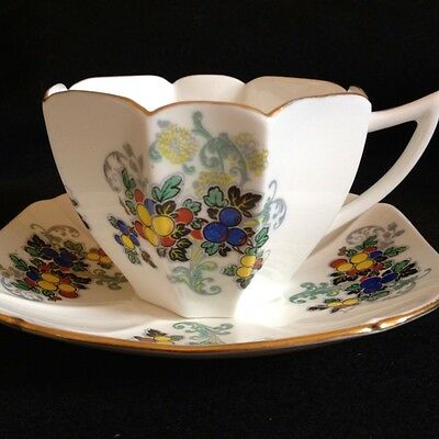 Shelley Queen Anne Fruit Tea Cup And Saucer