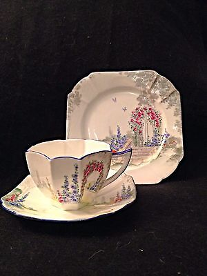 Shelley Archway Of Roses Cup Saucer And Dessert Plate Trio Queen Anne