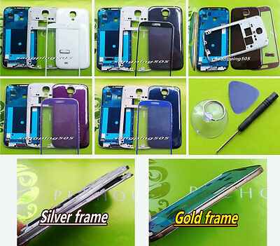 `Samsung Galaxy S4 i9500 i9505 Fascia Chassis/Full Housing Cover Case+Glass Lens
