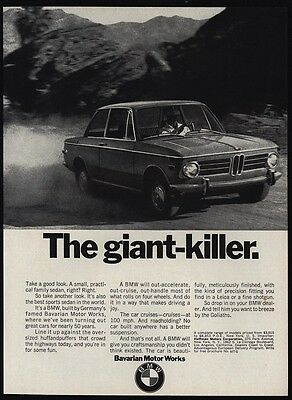 1970 BMW 2002 Sports Car - THE GIANT KILLER - Goliath - VINTAGE ADVERTISEMENT