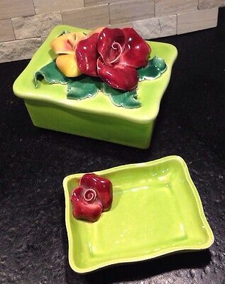 CALIFORNIA POTTERY CERAMIC BOX and TRAY 1950's By JOHANNES BRAHM Green