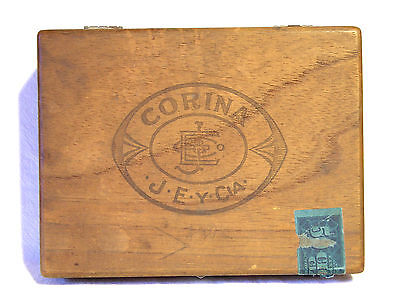 "Wonderful Vintage Wooden Dovetail ""Corina Larks Extra Mild"" 10 Cent Cigar Box"