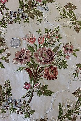 French Antique Romantic Brocaded Silky Rayon Home Dec Textile Fabric c.1910