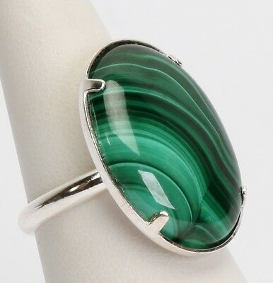Anello regolabile cabochon ovale 25 x 18 mm malachite e argento 925 idea regalo