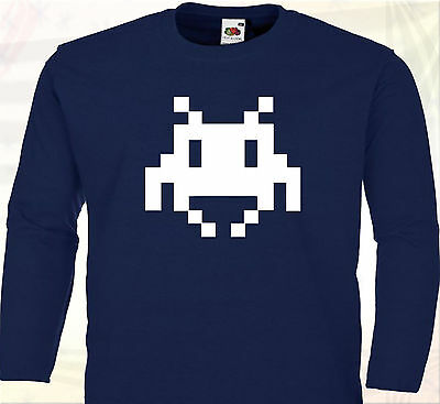 TEE SHIRT MANCHES LONGUES SPACE INVADERS  Jeux Vintage Console Gamer Années 80 !