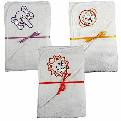 2 x 100% Cotton Hooded New Born Baby Cuddle Robe Towel 60 x 60 Shower Gift