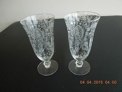 2 TIFFIN FRANCISCAN JUNE NIGHT # 17392 ETCHED CRYSTAL ICE TEA GLASS TUMBLERS
