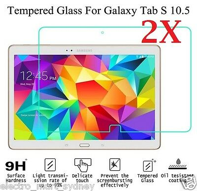 """2x Tempered Glass Screen Protector for Samsung Galaxy Tab S 10.5"""" 4G T800 T805"""