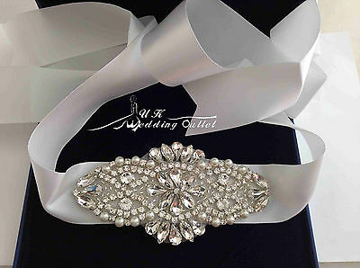 Bridal wedding dress belt with crystals and pearls on ivory satin ribbon LUXURY