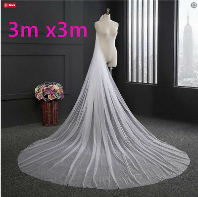 Bridal wedding cathedral 1 tier plain veil with comb white/ivory 3m long