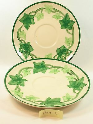 Franciscan Earthenware Ivy Saucers (2)Colors: Cream Green Made California USA