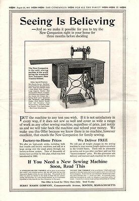 New Companion Sewing Machine  -  Grape Nuts  -  Large Full Page   -  1917