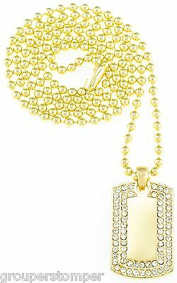 Dog Tag Necklace New Iced Out Mini Pendant 27 Inch 3mm Ball Style Chain Micro