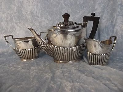 Victorian Three Piece Silver Single Service Tea Set Hallmarked 1892 Sheffield