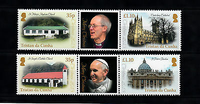 Tristan da Cunha 2013 MNH Christmas 4v Set Churches Cathedral Pope Francis