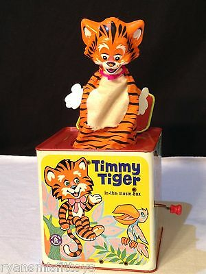 Vintage 1968 Mattel Timmy Tiger in the music box Jack In The Box Classic WORKS!