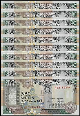 Somalia 50 Shillings X 10 Pieces (PCS), 1991, P-PR2, UNC