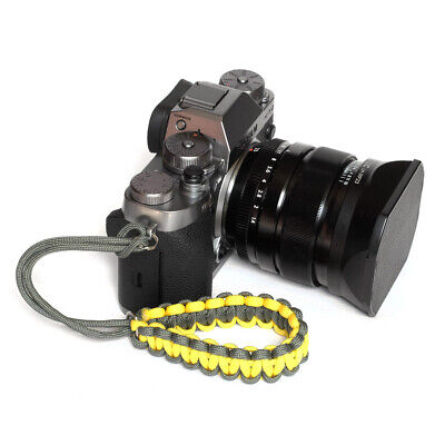 Yellow/Grey Cam Paracord Wrist Strap for DSLR Compact Cameras Fuji Canon Sony