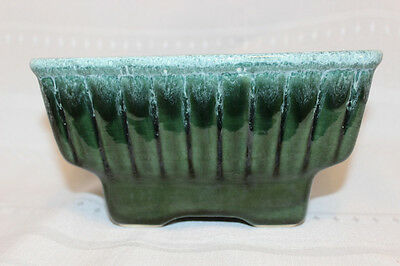 Hull USA 718 Green w/White Drip Glaze Planter