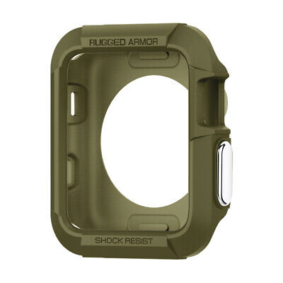 Spigen® Apple Watch 3/2/1 [Rugged Armor] 38/42mm Shockproof TPU Case Slim Cover