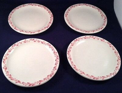 Syracuse China Restaurant Ware Bread Plates Set of 4 Maroon Leaves Vine White