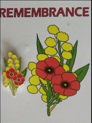 "Australia Remembrance Day- ANZAC Day- Poppy & Wattle Lapel Pin "" Badge"